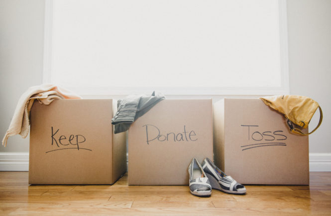 swedish death cleaning keep donate toss boxes